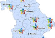 Bayernkarte mit Netzwerken in der Hospiz- und Palliativversorgung