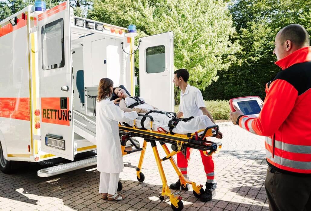 Rettungswageneinsatz mit telemedizinischer Ausstattung.