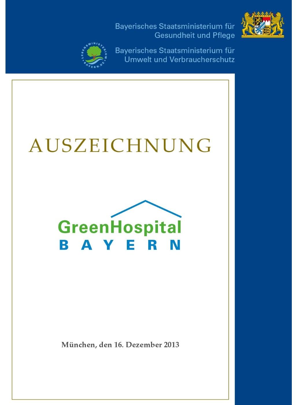 Urkunde: Auszeichnung Green Hospital Bayern.