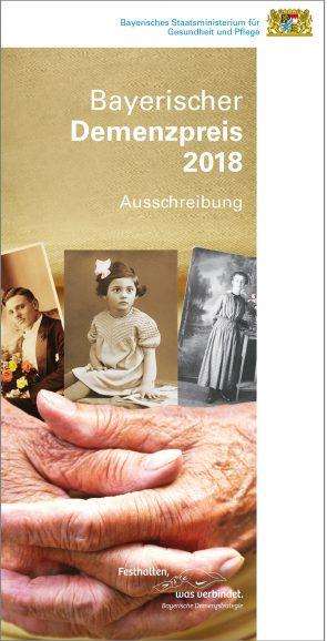 Flyer zur Ausschreibung des Bayerischen Demenzpreises 2018