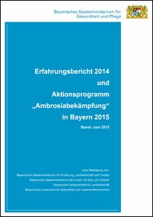 """Publikation Erfahrungsbericht 2014 und Aktionsprogramm """"Ambrosiabekämpfung"""" in Bayern 2015."""
