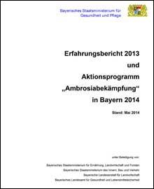 """Titelblatt Erfahrungsbericht 2013 und Aktionsprogramm """"Ambrosiabekämpfung"""" in Bayern 2014"""