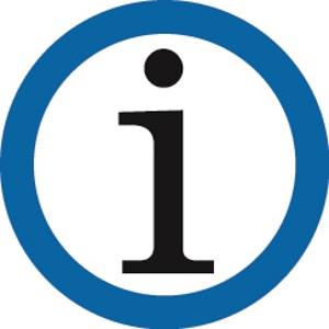Infozeichen in einem blauen Kreis.