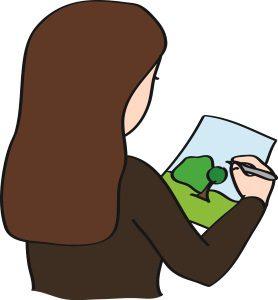 Eine Frau vom CJD in Erfurt malt ein Bild für die Internetseite.