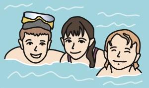 Drei Kinder im Wasser.
