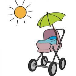 Ein Kinderwagen mit Sonnenschirm in der Sonne.