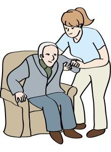 Eine junge Frau hilft einer alten Frau beim Aufstehen.
