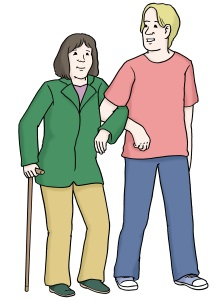 Ein Mann hilft einer Frau beim Gehen.