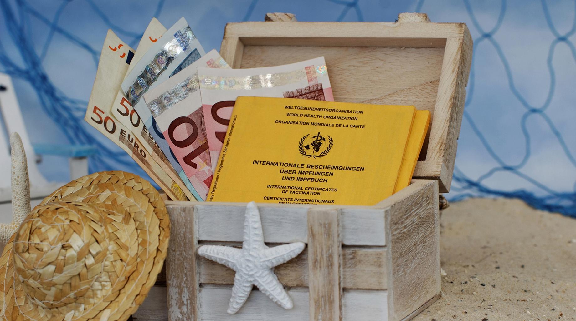 Reisekasse mit Euroscheinen und Impfpass.