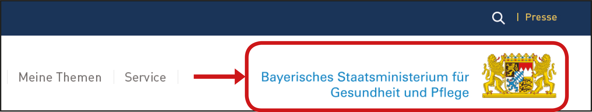 Haupt-Menü Wappen.