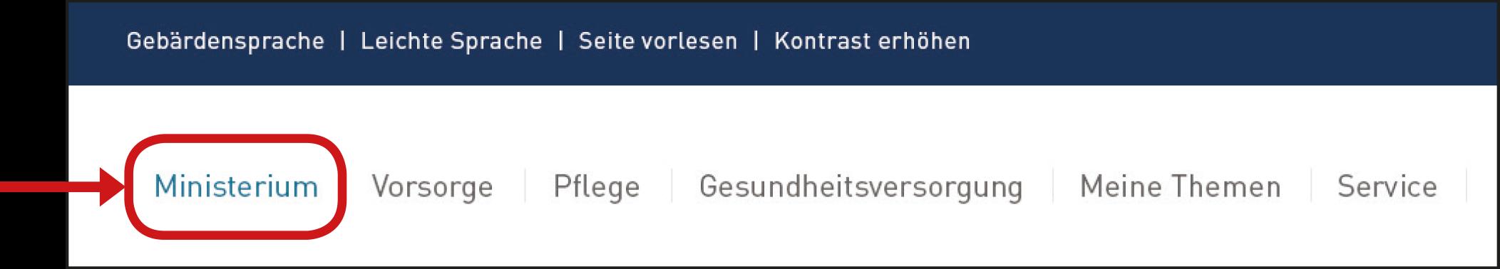 Haupt-Menü Ministerium.
