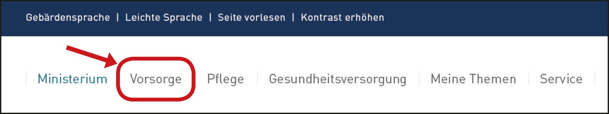 Haupt-Menü Vorsorge.
