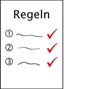 Ein Blatt Papier mit Regeln.