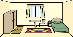 Ein Zimmer mit Bett, Stuhl, Tisch, Schrank, Fenster und Teppichen.
