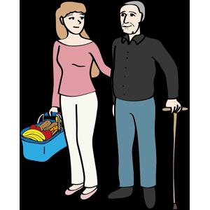 Frau hilft älterem Mann beim Einkaufen