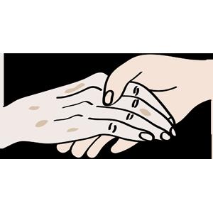 Alte und junge Hände berühren sich