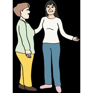 Frau bietet einer anderen Frau Hilfe an