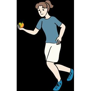 Joggerin und Apfel