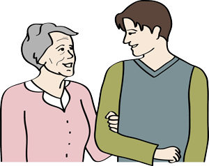 Junger Mann und ältere Frau sprechen miteinander