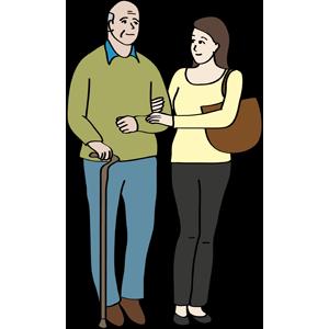 Frau unterstützt älteren Mann am Stock beim Gehen.