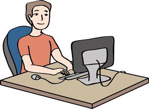 Mann schreibt Text am Computer