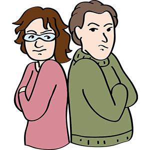 Ein Paar ist sich unzufrieden.