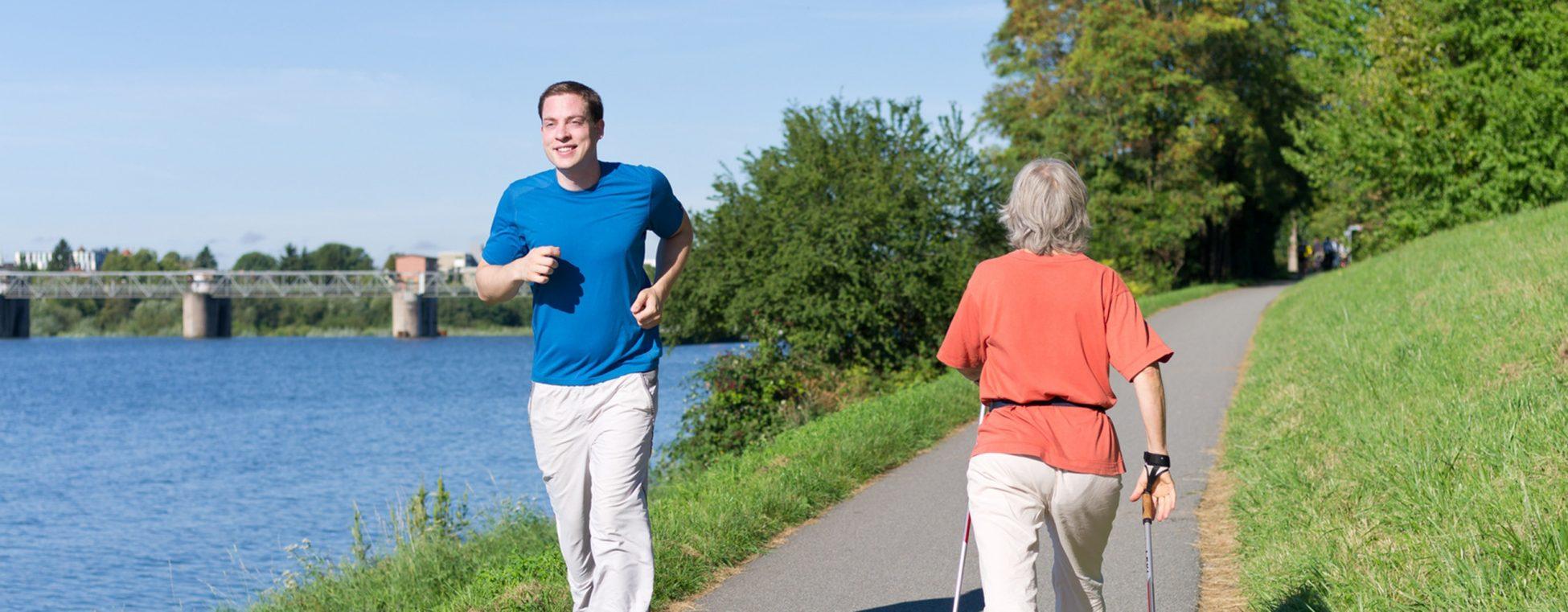 Bewegung - Läufer und Walkerin