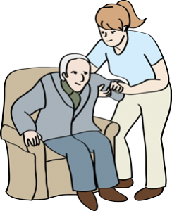 Frau hilft einem älteren Mann beim Aufstehen