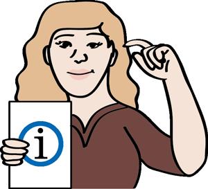 Frau mit einem Informationsschild