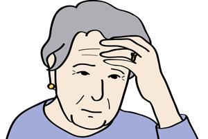 ältere Frau versteht etwas nicht.