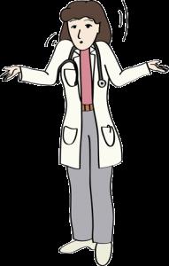 Ärztin zuckt mit den Schultern.
