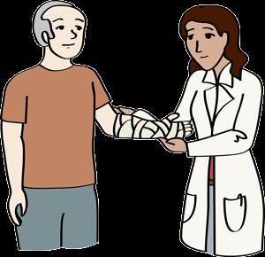 Ärztin verbindet den Arm eines Mannes