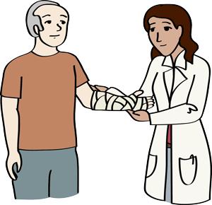 Mann lässt sich von einer Ärztin behandeln