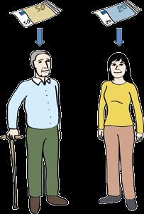 Älterer Mann und junge Frau bezahlen unterschiedlich viel Geld