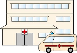 Krankenhaus und Krankenwagen