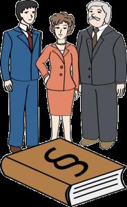 3 Politiker und Gesetzbuch