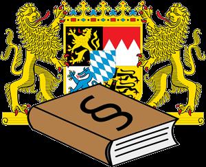 Bayerisches Staatswappen und Gesetzbuch