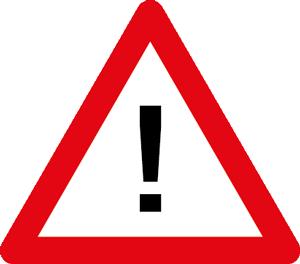 Straßenschild mit Ausrufezeichen. Achtung!