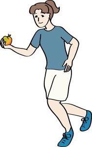 Joggerin hält einen Apfel in der Hand