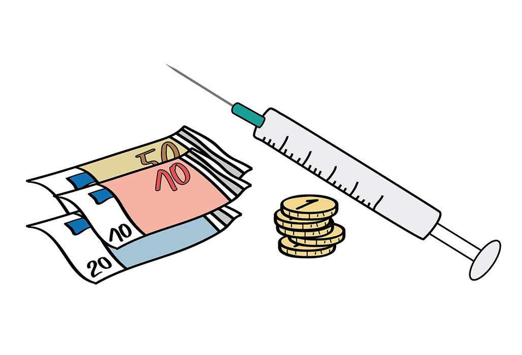 Geld und Spritze
