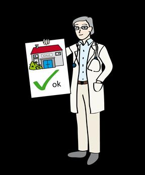 Arzt zeigt Bescheinigung mit der Erlaubnis, wieder zur Schule zu gehen
