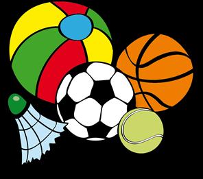 Bild mit Federball, Fußball, Basketball, Tennisball und Wasserball
