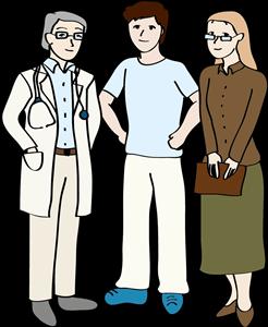 Arzt, Mann und Frau stehen nebeneinander