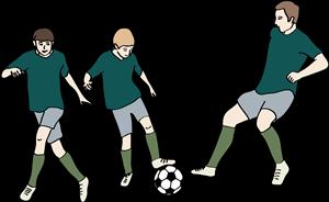 3 Jungen spielen Fußball