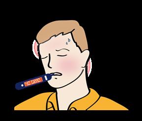 Mann hat Fieberthermometer im Mund, hat Fieber und schwitzt.
