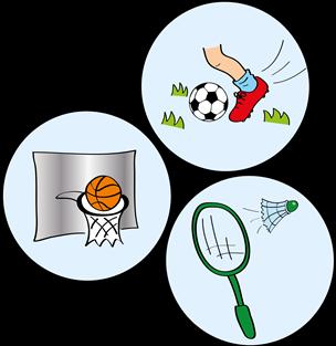 Fußball, Federball, Basketball