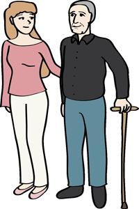 Eine Frau hilft einem Mann am Stock beim Gehen.