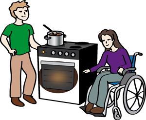 Mann hilft einer Frau im Rollstuhl beim Kochen