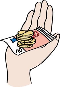 Hand mit einem 10-Euro-Schein und 5 Ein-Euro-Stücken.