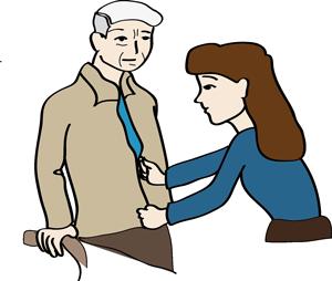 Eine Frau hilft einen älteren Mann, den Reißverschluss seiner Jacke zu schließen.